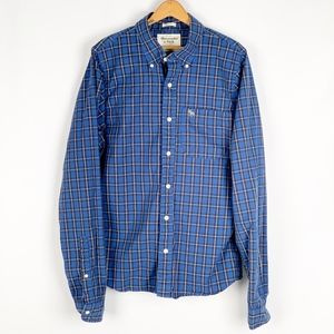 A&F | Blue Plaid Muscle Button Down Longsleeve XXL